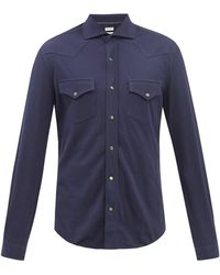 Brunello Cucinelli ウエスタンヨーク コットンピケシャツ - ブルー
