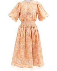 Zimmermann Brighton Paisley-print Linen Dress - Orange