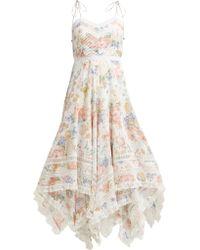 Zimmermann Bowie Floral Print Scarf Dress - Natural
