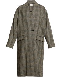 Étoile Isabel Marant Henlo Checked Wool Overcoat - Gray