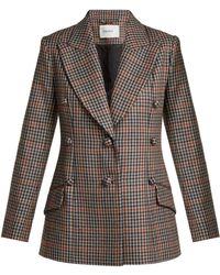 Erdem Devon Single Breasted Check Wool Blazer