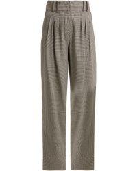Balmain Pantalon en laine à imprimé Prince de Galles - Gris