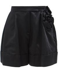 Simone Rocha Rose-appliqué Satin Shorts - Black