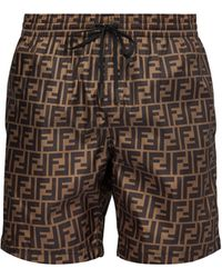 Fendi Ff-printed Swim Shorts - Brown