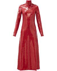 Bottega Veneta Robe de soirée dos-nu à col montant et sequins - Rouge