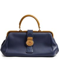 Burberry Trench Bi-colour Textured-leather Bowling Bag - Blue