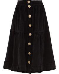 Shrimps Harriet Cotton-blend Corduroy Midi Skirt - Black