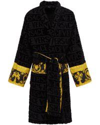 Versace - I Love Baroque Logo Jacquard Cotton Bathrobe - Lyst