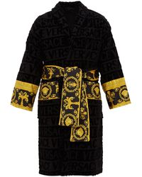 Versace I Love Baroque Logo-jacquard Cotton Bathrobe - Black