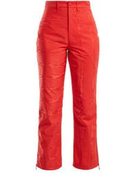 Marine Serre - High Rise Moire Cropped Trousers - Lyst