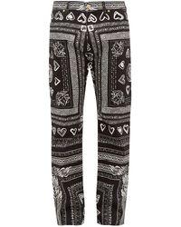 Versace Heart And Greca-print Cotton-blend Jeans - Black