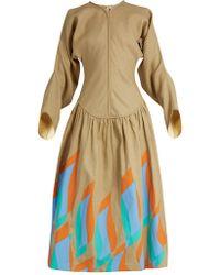 JW Anderson Swoosh Print Dropped Waist Linen Dress - Multicolor