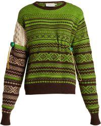 Preen By Thornton Bregazzi Moira Fair Isle Knit Wool Blend Jumper - Green