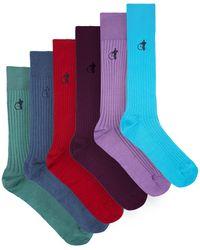 London Sock Company Brave New World コットンブレンドソックス X6 - マルチカラー