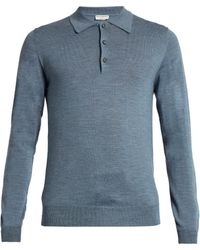 Éditions MR Long-sleeved Wool-knit Polo Shirt - Blue