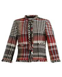 Oscar de la Renta - Fringed Cotton-blend Tweed Jacket - Lyst