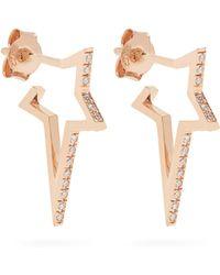 Diane Kordas - Diamond & Rose-gold Mini Star Earrings - Lyst
