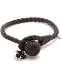 Bottega Veneta - Intrecciato-woven Knot Leather Bracelet - Lyst