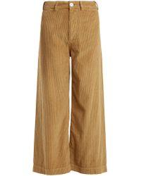 MASSCOB High-rise Wide-leg Corduroy Pants - Natural
