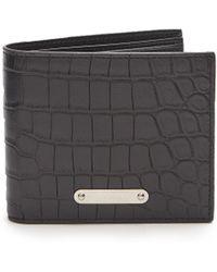 Saint Laurent - Logo-plaque Crocodile-effect Leather Wallet - Lyst