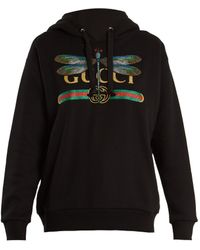 Gucci | Dragonfly And Logo-print Cotton Hooded Sweatshirt | Lyst