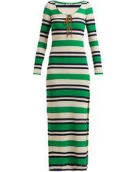 Miu Miu - Striped Knitted Dress - Lyst
