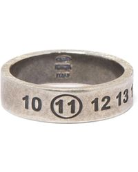 Maison Margiela Numbers Engraved Sterling Silver Ring - Metallic