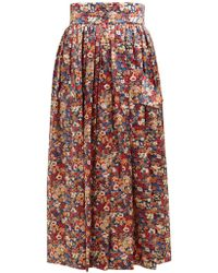 The Vampire's Wife Visiting Floral Print Silk Charmeuse Midi Skirt - Multicolor
