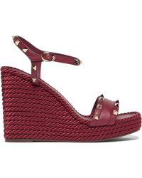 Valentino Torchon Rockstud Leather Wedge Sandals - Multicolour