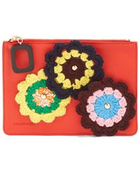 JW Anderson Daisies-crochet Leather Pouch - Red