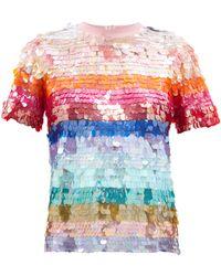 Ashish スパンコール ストライプ Tシャツ - マルチカラー