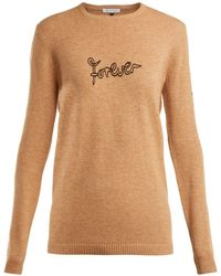 Bella Freud - Forever-embroidered Wool-blend Sweater - Lyst