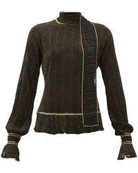 Peter Pilotto Scarf-neck Plissé Metallic-knit Sweater - Black