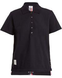 Thom Browne | Striped-detail Cotton-piqué Polo Shirt | Lyst