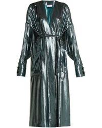 Wanda Nylon - V-neck Belted Side-slit Silk-blend Dress - Lyst