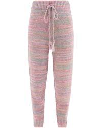 LoveShackFancy Olvera Striped-jacquard Knit Track Trousers - Pink