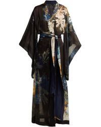 Carine Gilson - Floral Print Silk Georgette Kimono - Lyst