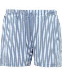 Hanro Sleep & Lounge Striped Cotton-blend Shorts - Blue