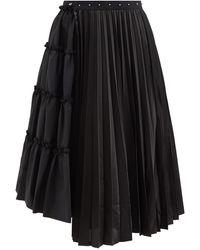 Noir Kei Ninomiya アシンメトリーパネル ウール&サテンスカート - ブラック