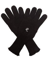 Raf Simons Embroidered Wool-knit Gloves - Black