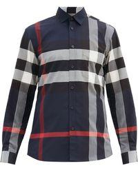 Burberry ネイビー チェック Windsor シャツ - ブルー