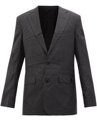 Balenciaga テクスチャードツイル シングルスーツジャケット - ブラック
