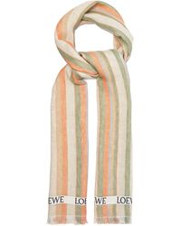 Loewe Logo-jacquard Striped Linen-blend Scarf - Multicolor