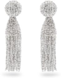 Oscar de la Renta | Bead-embellished Tassel-drop Clip-on Earrings | Lyst
