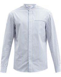 Gabriela Hearst Oliver Stand-collar Striped Cotton Shirt - Blue