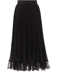 Dolce & Gabbana ジョーゼット&レース プリーツスカート - ブラック