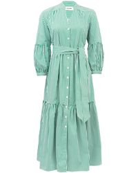 Cefinn Tie-sash Striped Cotton-poplin Dress - Green