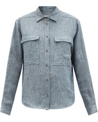 Three Graces London Willow Chest-pocket Linen-denim Shirt - Blue