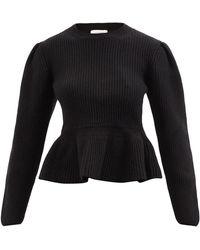 Lemaire ペプラム リブニットセーター - ブラック