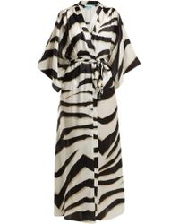 Melissa Odabash Jules Zebra Print Satin Robe - Black